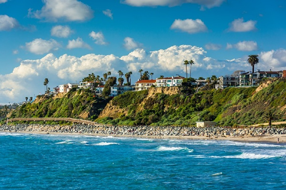 View of cliffs along the beach in San Clemente, California.